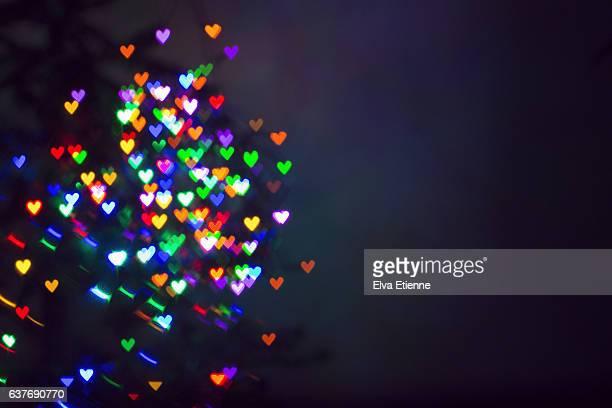 Heart shaped lights of bokeh