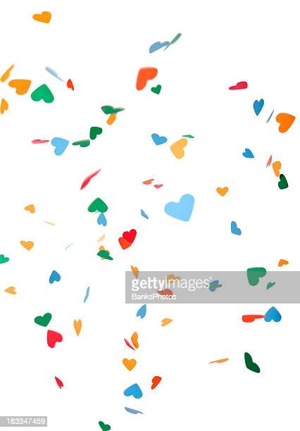 Heart Shaped Paper Confetti Falling, Isolated on White