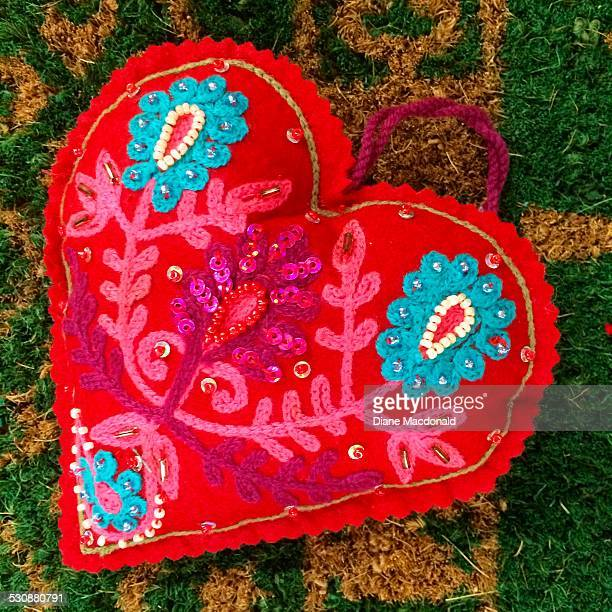 heart shaped! - stiches stock photos and pictures