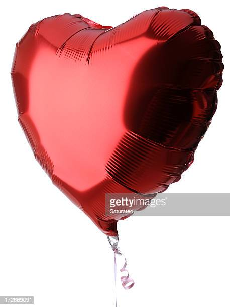 Heart Shaped Red Balloon on White Background