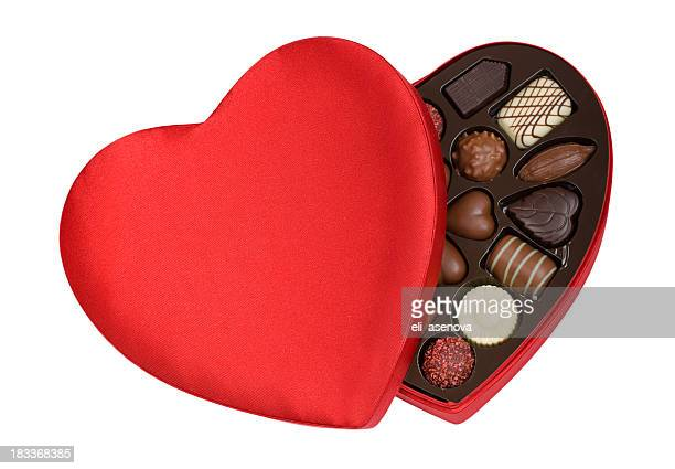 A heart shaped red box contained valentines day chocolate