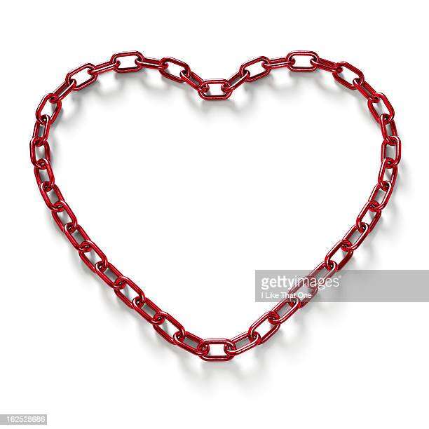 Heart shaped red chain