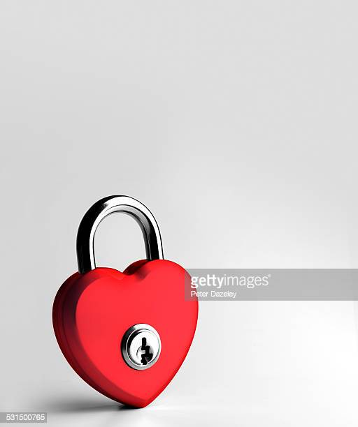 Heart shaped red padlock