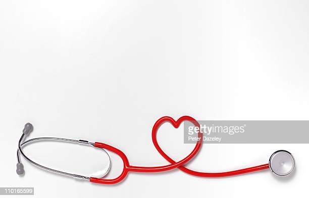 Heart shaped stethoscope with copy space