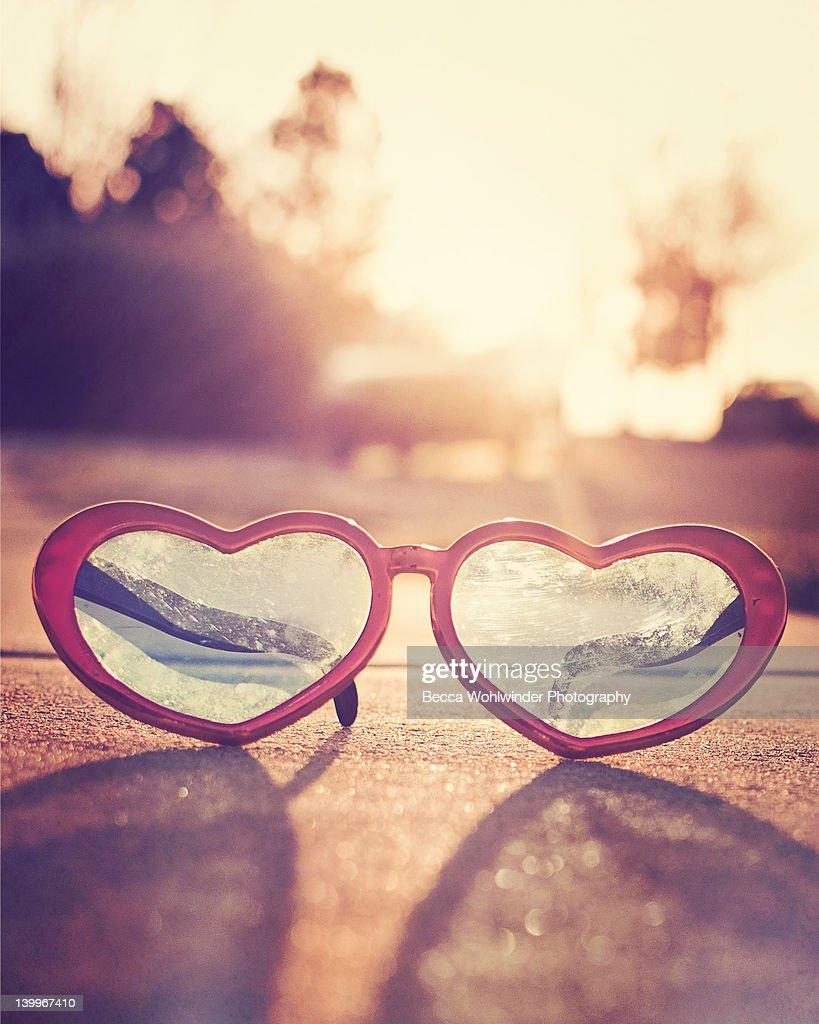 Heart shaped sunglasses : Stock Photo