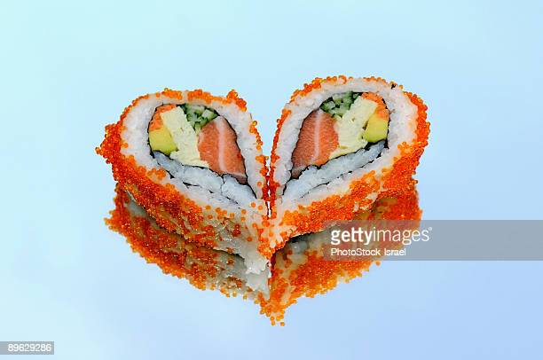 heart shaped sushi - heart month stock photos and pictures