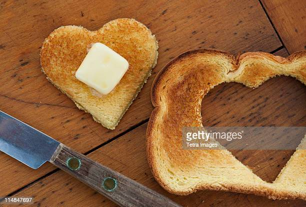 Heart shaped toast on table
