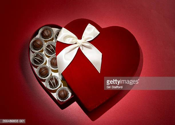 Heart shaped velvet box of chocolates