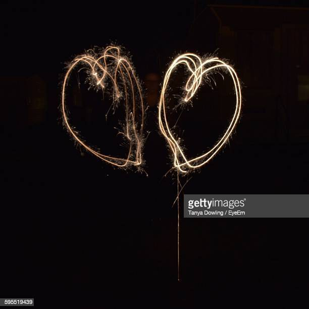 Heart Shapes Made From Light Trails At Night
