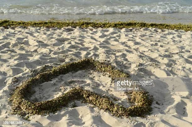 heart sign on empty beach - rafael ben ari imagens e fotografias de stock