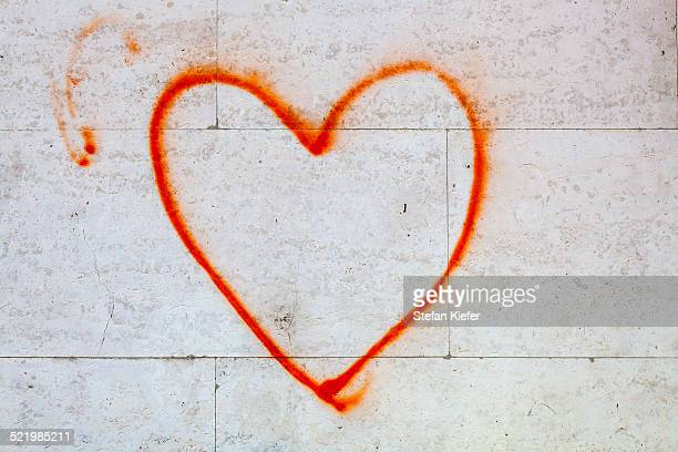 Heart, spray-painted on a house wall, Ljubljana, Slovenia
