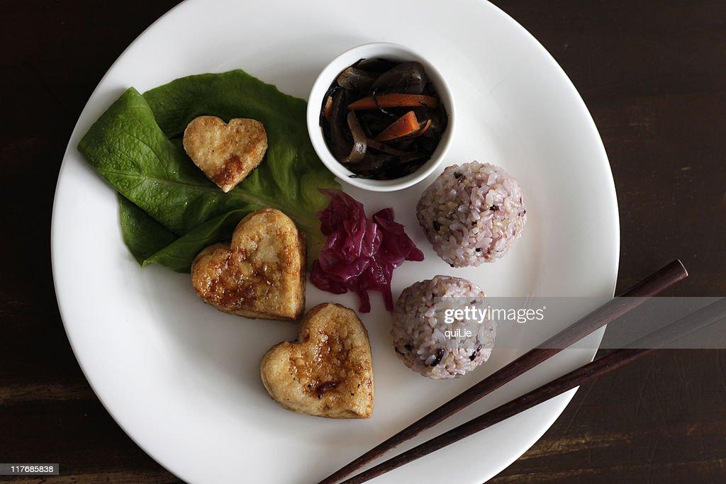 Heart tofu vegetarian plate : Foto de stock