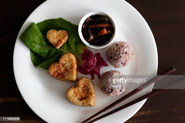 heart tofu vegetarian plate - konjac stock pictures, royalty-free photos & images