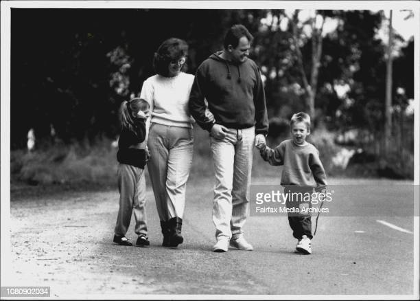 Heart Valve transplant patient Paul Murphy enjoys a walk with his family near their Sandy Point home after he was released from hospital on TuesdayL...