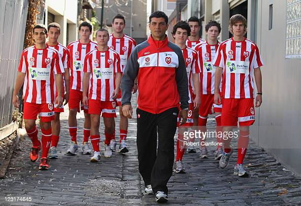Heart youth coach John Aloisi poses with members of the Heart youth squad during a Melbourne Heart media session announcing their inagural Youth...