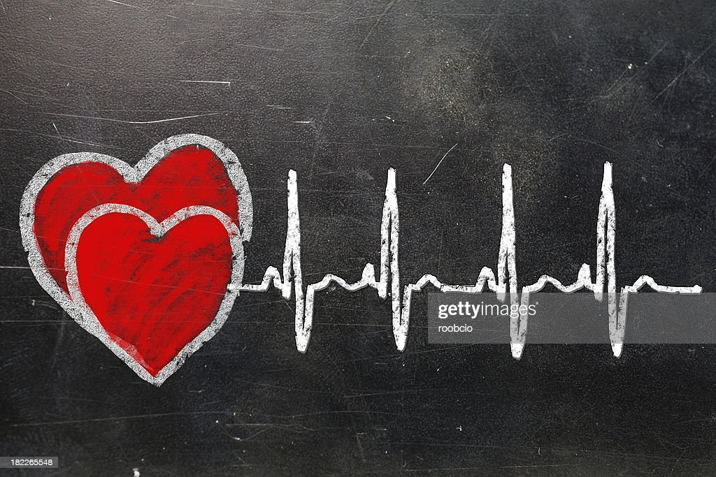 Heartbeat Character And Design Love Heart On A Chalkboard Stock