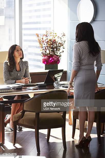 SUITS 'Heartburn' Episode 314 Pictured Gina Torres as Jessica Pearson Meghan Markle as Rachel Zane