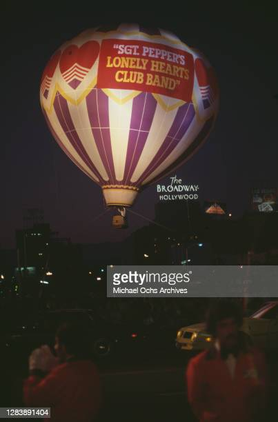 Heartland's hot air balloon from the film musical 'Sgt Pepper's Lonely Hearts Club Band' with a sign for The Broadway Hollywood Hotel in the...