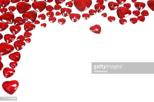 hearts as frame isolated on white
