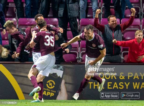 Hearts Craig Halkett celebrates his late goal to make it 2-2 during the Betfred Cup Quarter-Final match between Heart of Midlothian and Aberdeen at...