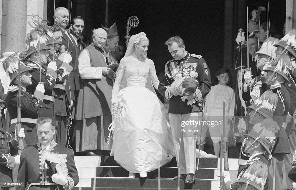 Grace Kelly and Prince Rainier Exiting the Cathedral : News Photo