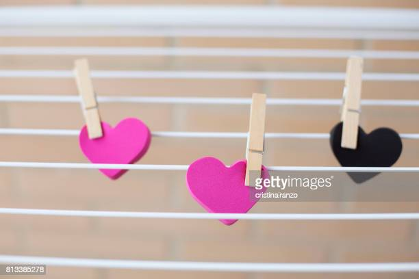 Hearts lying on a clothesline