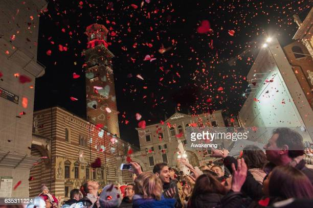 Hearts made of paper fall down at Piazza Dante square during 'Verona in Love' on February 14 2017 in Verona Italy Verona in Love now in it's 13th...