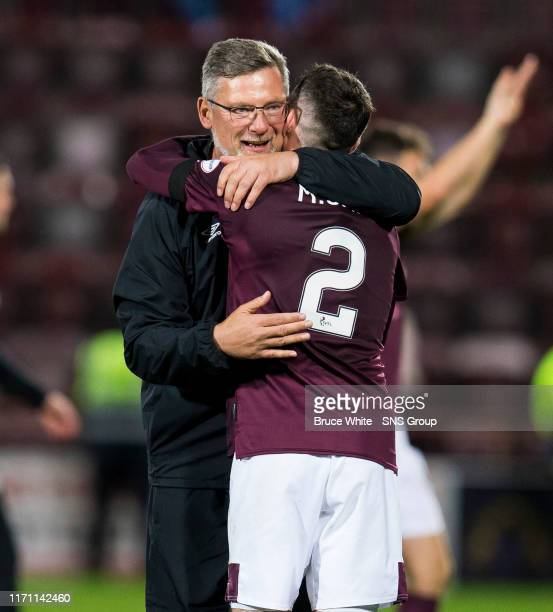 Hearts manager Craig Levein celebrates with Michael Smith at full time of the Betfred Cup QuarterFinal match between Heart of Midlothian and Aberdeen...