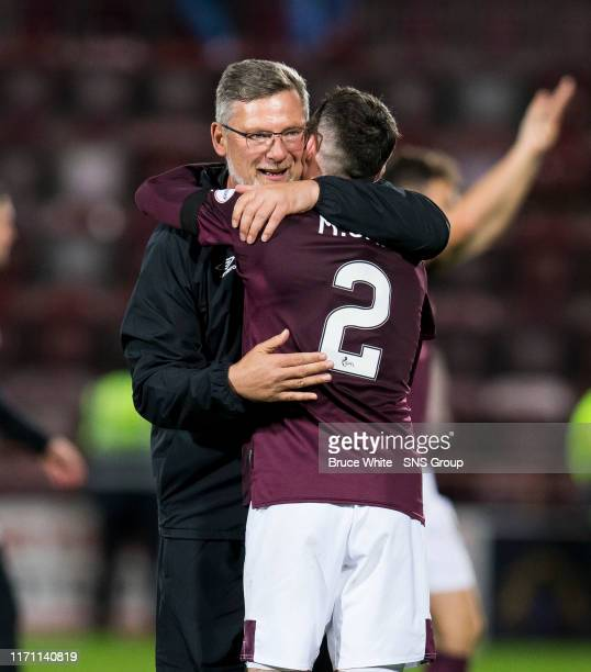 Hearts Manager Craig levin celebrates with Michael Smith in the Betfred Cup QuarterFinal match between Heart of Midlothian and Aberdeen at Tynecastle...
