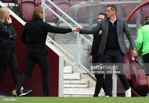 Hearts manager Robbie Neilson and Hibs manager Jack Ross at full tome during a cinch Premiership match between Heart of Midlothian and Hibernian at...