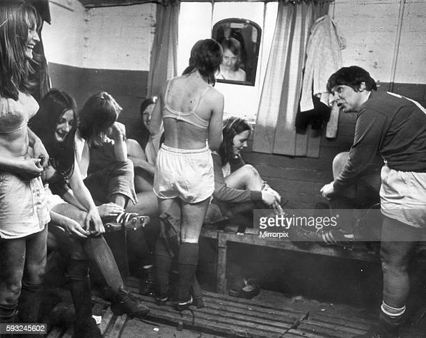 Hearts of England womens football team pictured in dressing room getting ready for match May 1973
