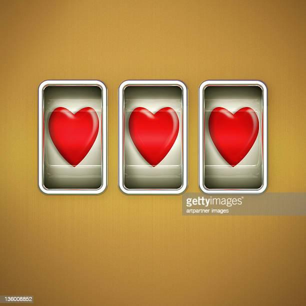 3 Hearts on a Slot Machine Display