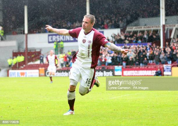 Heart's Ryan Stevenson celebrates scoring his sides third goal during Clydesdale Bank Premier League match at Tynecastle Stadium Edinburgh