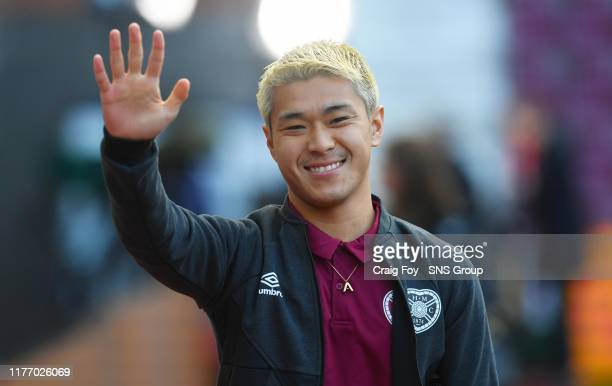 Hearts' Ryotaro Meshino pre match during the Ladbrokes Premiership match between Heart of Midlothian and Rangers at Tynecastle Park on October 20 in...