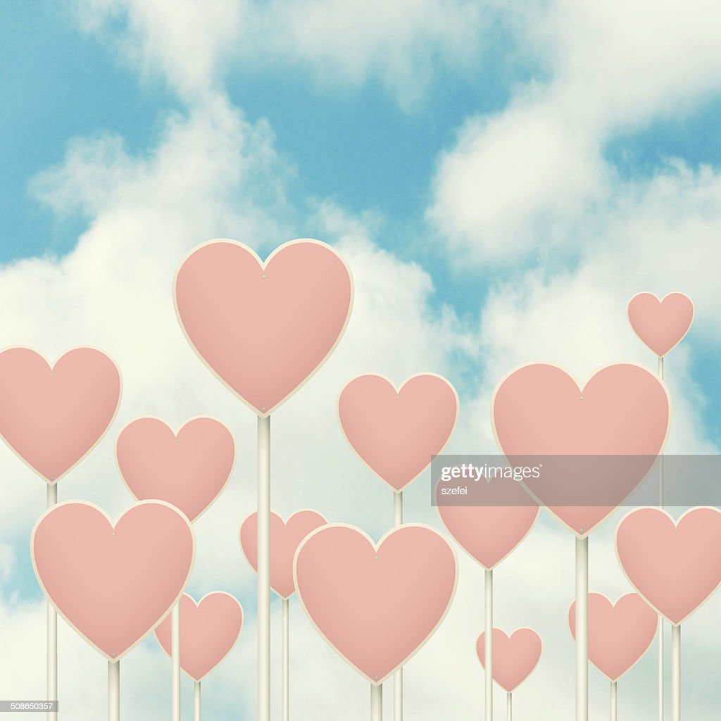 Hearts sign post. : Stock Photo