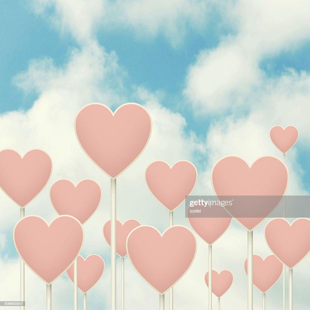 Hearts sign post. : Stock Photo