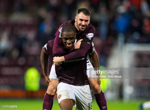 Hearts Uche Ikpeazu and Michael Smith celebrate in the Betfred Cup QuarterFinal match between Heart of Midlothian and Aberdeen at Tynecastle Park on...