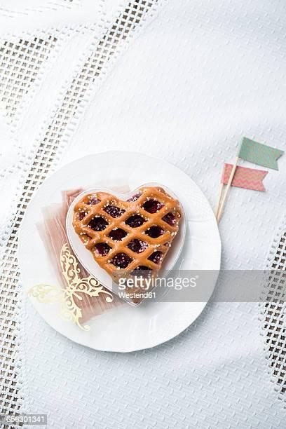 Heart-shaped cherry cake