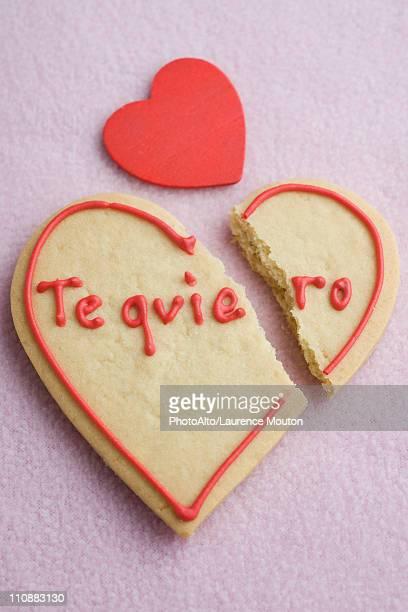 Heart-shaped cookie broken in half
