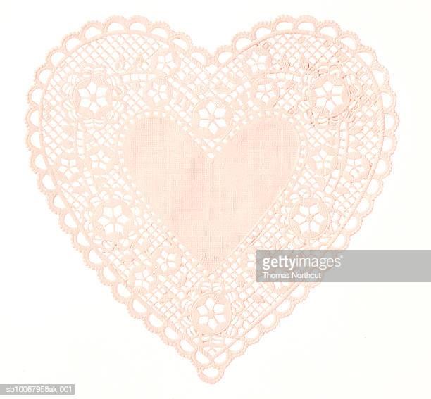 heart-shaped doily - doily bildbanksfoton och bilder