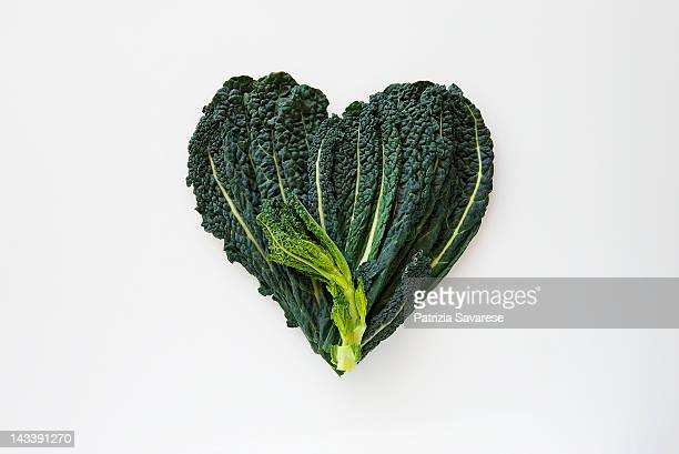 heart-shaped formed by fresh black kale - kale stock pictures, royalty-free photos & images
