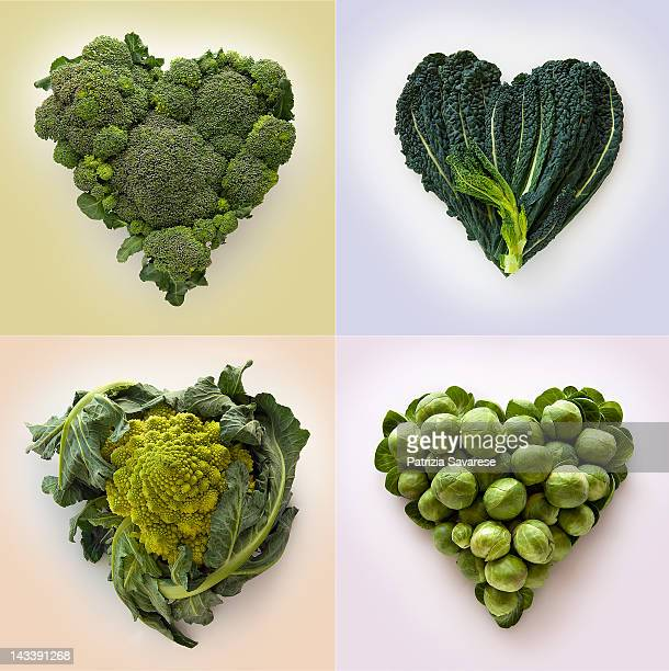 Heart-shaped formed by fresh Cabbage family