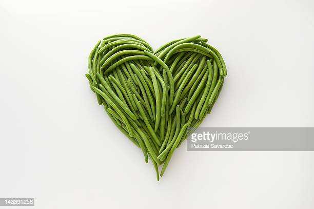 Heart-shaped formed by fresh Green Beans