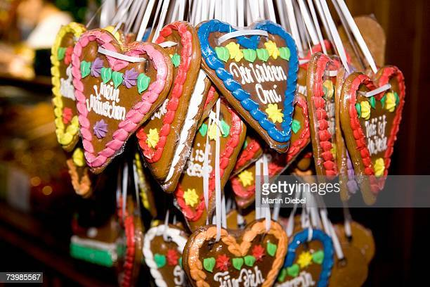 Heart-shaped gingerbread cookies at a Christmas market