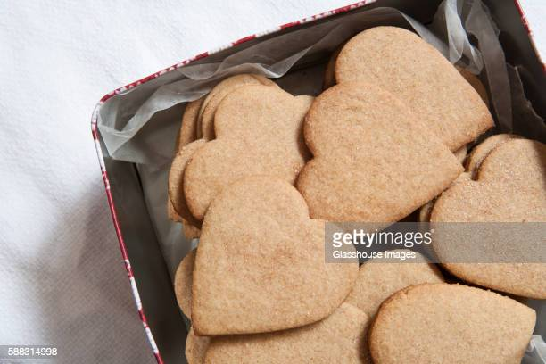 Heart-Shaped Graham Cracker Cookies in Tin Container
