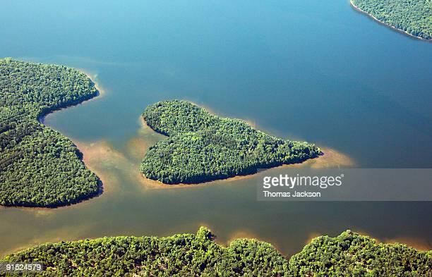 Heart-shaped island in lake