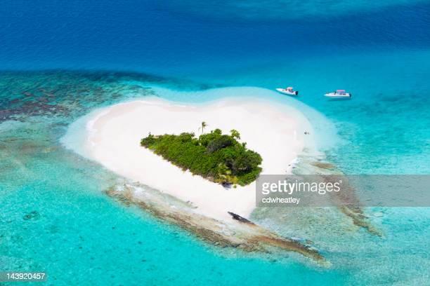 heart-shaped island in the Caribbean -  honeymoon getaway destination