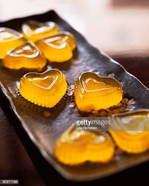 heart-shaped konnyaku candies - konjac stock pictures, royalty-free photos & images