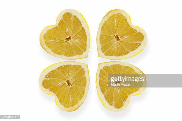 Heart-shaped lemons arranged like a cloverleaf