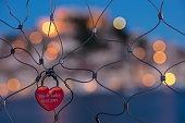 heartshaped lock fence at dusk sibenik